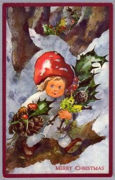 A/S Mili Weber Mushroom Child w Holly Snow Christmas PC (07/20/2009)