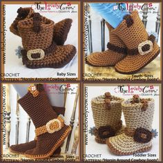Cowboy Boots Crochet Patterns All Sizes Baby by TheLovelyCrow