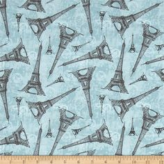 Destination Paris Eiffel Tower Blue from @fabricdotcom  Designed by Whistler Studios for Windham, this cotton print fabric features retro passport stamps and the stoic Eiffel Tower. Perfect for quilting, apparel and home decor accents. Colors include black, white, grey and shades of blue.