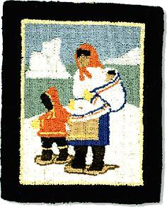 Wool On Burlap Newfoundland 25 X 20 Cm Cynthia Rug Hooking Modern