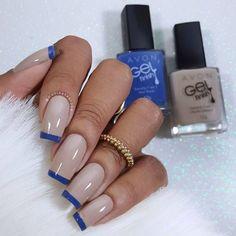 Shellac Nails, Manicure And Pedicure, Diy Nails, French Tip Nails, French Manicures, Fabulous Nails, Stylish Nails, Blue Nails, Nail Tips