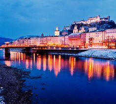 Salzburg, Austria. I've been here, but oh, how I want to return! Hohensalzburg at the top of the hill is lovely!