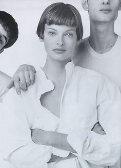 "Linda Evangelista sporting "" Suits without the Starch, "" shot by Steven Meisel for US VOGUE May 1993 