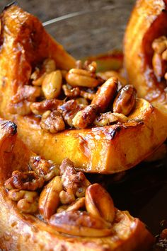 Honey and thyme roasted pumpkin recipe from 80 Breakfasts. Could substitute honey with maple syrup.