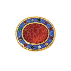 Gold, Carnelian Intaglio, Colored Stone and Enamel Brooch, Wièse, Circa 1860 | lot | Sotheby's