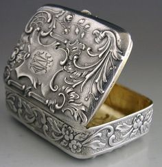 BEAUTIFUL FRENCH BELGIUM 800 SILVER SNUFF c1910 ANTIQUE STUNNING ART NOUVEAU