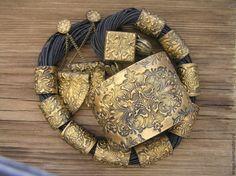 Купить Браслет Дамаск золотисто-черный из полимерной глины - браслет, браслет золотистый, золотистый браслет