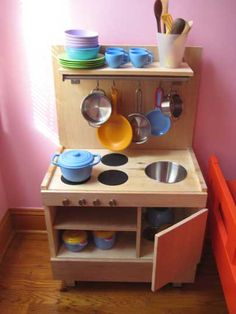 How to build a play kitchen from Ikea components. We have been meaning to do this for such a long time!