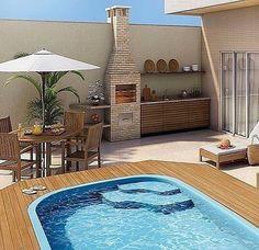 Pin on Patio Backyard Pool Designs, Small Backyard Pools, Small Pools, Swimming Pools Backyard, Rooftop Design, Terrace Design, Pool Landscape Design, Small Pool Design, Backyard Makeover