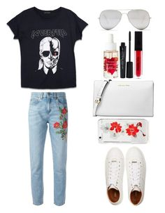 """Style #350"" by maksimchuk-vika ❤ liked on Polyvore featuring Karl Lagerfeld, Gucci, Michael Kors, Sunny Rebel, Native Union, Topshop, Smashbox and Jimmy Choo"