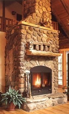 cozy stone fireplace....