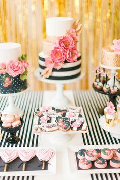 Decoração de festa de 15 anos com tema Kate Spade | Sweet Fifteen + Kate Spade theme, blush, black and gold