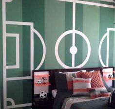 Soccer Field Wall - This would be so easy to do with vinyl!