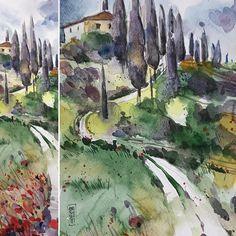 Acquarello toscano #tuscany #watercolor #painting #art #art #artemia #landscape #countryside