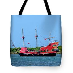 Red Dragon Pirate Ship Tote Bag featuring the photograph Red Dragon Pirate Ship by Debra Martz