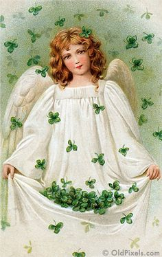 Shamrock Angel - A Vintage St. Patrick's Day greeting card illustration - circa 1909. This image is part of a collection of 12 Vintage St Patrick Art images -- all digitally restored and available as prints or hi-res downloads.