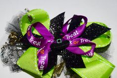 Halloween Girls Green Witch Hair Bow Handmade Halloween Girls Bow by RachelsHairBowtique on Etsy