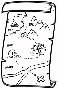 Find the gold in treasure map coloring page free for kids