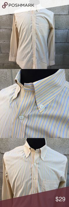 """Brooks Brothers Non-Iron Stretch Slim Oxford - M Brooks Brothers Striped Non-Iron Stretch Slim Fit Button Down Oxford Shirt M Gently used in good condition. (Small stain on sleeve, as seen in pic)  Color/Pattern: Multi Colored Stripes Yellow, White, Light Blue   MEASUREMENTS laying flat: Chest (armpit to armpit)  22 1/2"""" Length (Back collar bottom to very bottom of shirt) approx 31 1/4"""" Shoulder to cuff: 25 3/4"""" Brooks Brothers Shirts Dress Shirts"""