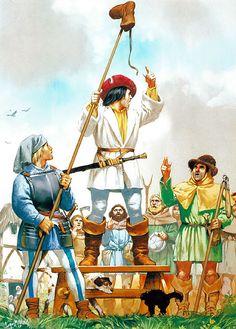 German Peasants' War - A village muster: • Peasant standard-bearer with 'Bundschuh'  • Peasant captain  • Peasant rebel