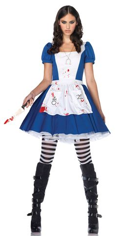 Wear white apron (neckline cut a little lower) w/ fake blood on it. Striped tights & black boots/flats