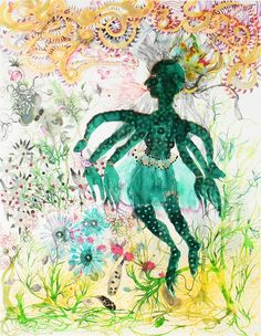 Rina Banerjee, A garden unkept, unpruned unweeded had a sudden growth and her green figure flowered black and stems turbulent with new breath reached sky with joy., 2007. Mixed media on paper; 50 x 38.5 in.