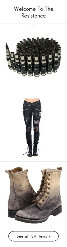 """""""Welcome To The Resistance"""" by gorebandit ❤ liked on Polyvore featuring accessories, belts, jewelry, fillers, weapons, silver belt, bullet belt, jeans, pants and bottoms"""