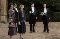 Shown from left to right: ELIZABETH MCGOVERN as Cora, Countess of Grantham, ROBERT JAMES-COLLIER as Thomas Barrow, LAURA CARMICHAEL as Lady Edith Crawley, MICHAEL FOX as Andy Parker and KEVIN DOYLE as Joseph Molesley.