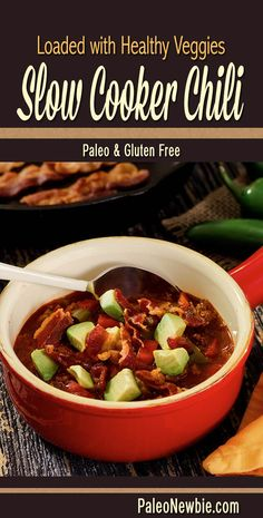Heart-warming and heart-healthy no-bean chili. Optimized for the paleo diet with a power pack of fresh veggies and awesome spices. One of our most popular recipes! #paleo #glutenfree