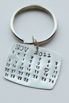 Calendar Keychain Silver, Calendar Key Chain, Valentines Gift For Him, Wedding Favors, Save The Date, Special Day- Anniversary, wedding Men on Wanelo