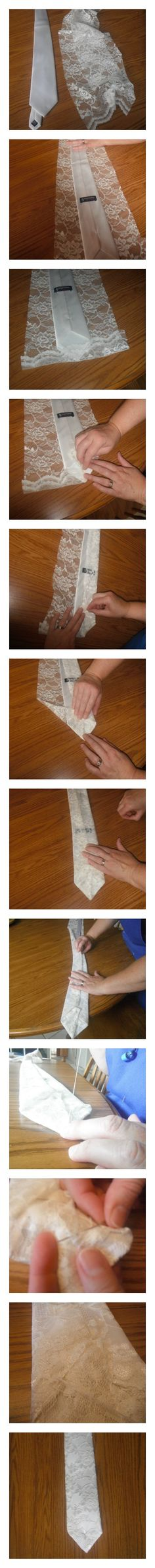 """This covered tie is specifically for weddings, but you can use it for other events. Since the wedding dress was altered the remaining lace was used for this project. First, lay the tie over top of the lace. It is okay if the lace doesn't cover the entire length of the tie, as long as it covers the part you will see. Then cut to a 1-1/2 inch on each side then fold and pin. After """"whip stitch"""" it closed catching some of the tie. Presto,you have a tie for the groom! @Amber Keeler #coveredtie"""