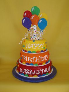Vibrant colored balloon themed birthday cake finished in fondant with gumpaste balloons Balloon Birthday Cakes, First Birthday Balloons, Balloon Cake, 28th Birthday, Themed Birthday Cakes, Happy Birthday Cakes, Themed Cakes, Colorful Birthday Cake, Birthday Nails