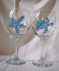 Painted Wine Glasses Ideas | Hand painted Beach Themed Wine Glasses by ... | Wine glass ideas