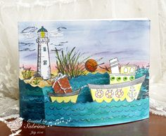 This card gives me an idea: Do a Bendi card using the assorted nautical dies I have with a Vee Dub in the foreground. Fun Fold Cards, 3d Cards, Pop Up Cards, Folded Cards, Nautical Cards, Beach Cards, Kids Birthday Cards, Shaped Cards, Marianne Design
