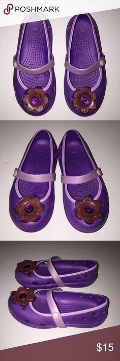 Mary Jane size 10 Toddler Crocs Great Condition Purple Mary Jane Crocs with beautiful sparkling flower on front of each shoe. Toddler size 10 1/2 Crocs. Great Condition CROCS Shoes Sandals & Flip Flops