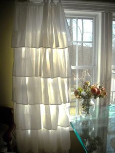 White ruffled linen curtains on Etsy