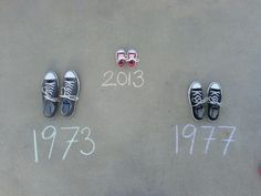 way to announce pregnancy. (We did something similar to this and we also took photos of all our shoes in the sand. There are volleyball courts by our place so we used those. Turned out really cute! -Meg)