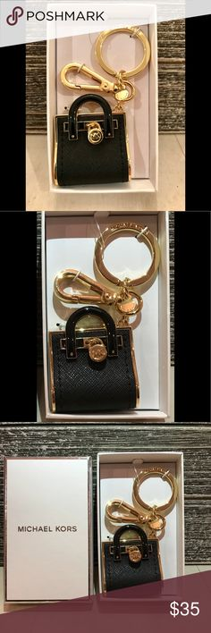 NWT!! MICHAEL KIRS KEY CHARM OR BAG CHARM !!! NWT!!!  Beautiful MK purse key charm. . Can also be used as a BAG CHARM, by using the lobster clasp and removing the key ring !!! 2 for 1 !!  Bag charm and key ring !!   COLOR: BLACK with GOLD hardware. Michael Kors Accessories Key & Card Holders