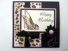 Leopard print Birthday card Sexy High Heel