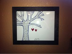 DIY Wedding gift.  Tree with couple's wedding song inscribed in it.