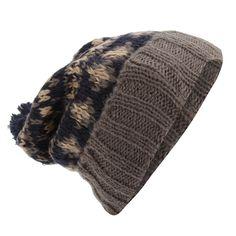 Mens Brushed Fairisle Pattern Winter Bobble Hat - Dark Grey Navy -  CR12OBMEKVE - Hats fc4e0ccc36d3