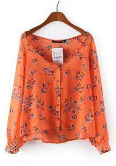 Women's low round neck orange color plants printing long sleeve blouse