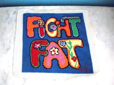 1970's FIGHT FAT Needlepoint