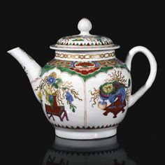 A fine Plymouth teapot and cover, circa 1768-70 of globular form brightly painted with the 'Dragon in Compartments' pattern, highlighted with gilding, alchemist's mark for tin in iron-red.