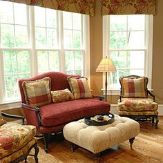 Classic Country French Living Room Ideas With Antique Maroon Velved  Loveseat Using Black Finish Wooden Frames