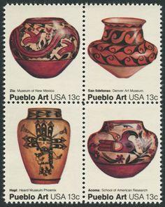 American Folk Art Series on Pueblo Indian Pottery U. Postage Stamps: Zia Pot (Museum of New Mexico), San Ildelfonso Pot (Denver Art Museum), Hopi Pot (Heard Museum Phoenix), Acoma Pot (School of American Research) Pueblo Indians, Pueblo Pottery, Postage Stamp Art, Art Series, Stamp Collecting, Indian Art, Pottery Art, Folk Art, United States