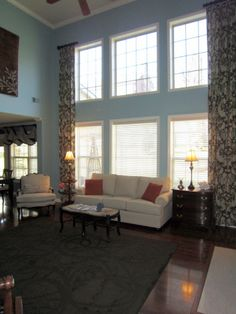 The Curtains. Great Room, Two Story Great Room In Aqua With Ivory Couch, Part 51