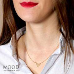 collar triángulo oro  plata chapada en oro montaje
