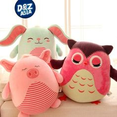 Plush emoji pillows cute ball owl Bunny pig bear monkey plush doll particle foam doll cushion pillow