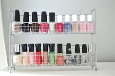 nail polish organizer. Need to find one of these! The girls nail polish collection is growing WAY to fast! Lol